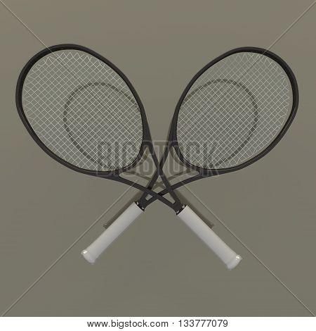 3D rendering of tennis racket on mirror background