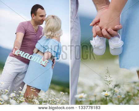 A collage of two photos-a young family man and woman look at each other and hold in their hands happiness,holding hands hold little white booties, standing in the open air among the mountain-fields blossoming white daisies
