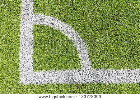 Artificial Turf Conner With White Marking Line