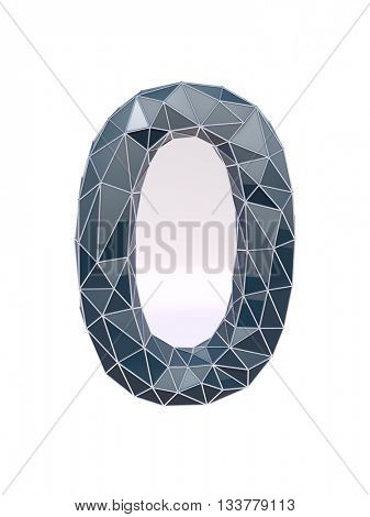 faceted number 0, zero, 3d illustration