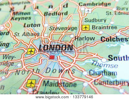 Map with focus set on London, England.