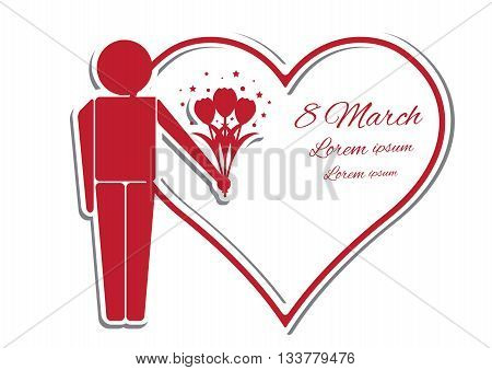 Happy womens day card with man bouquet of flowers and greeting inscription