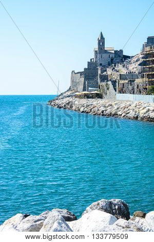 view of italian sea at Portovenere tip