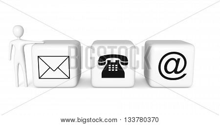 Contact us: white cubes with a white 3d man on a white background 3d illustration