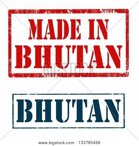 Set of stamps with text Bhutan and Made In Bhutan,vector illustration
