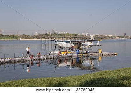 Dubai, United Arab Emirates - October 17, 2014: A Seaplane parked in Dubai Creek.