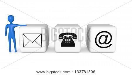 Contact us: white cubes with a blue 3d man on a white background 3d illustration