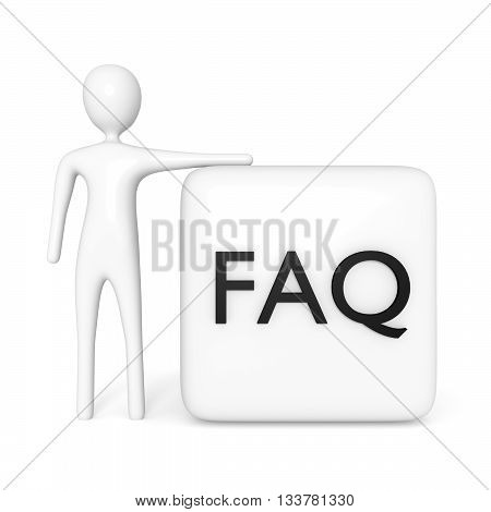 FAQ cube with a white 3d man on a white background 3d illustration
