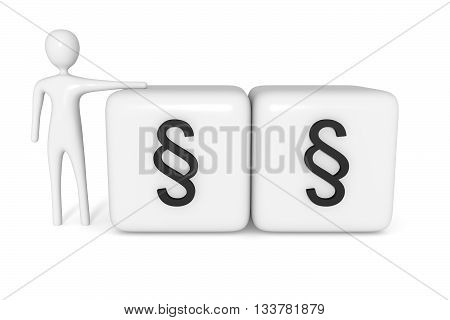 Law: cubes with section signs with white 3d man 3d illustration