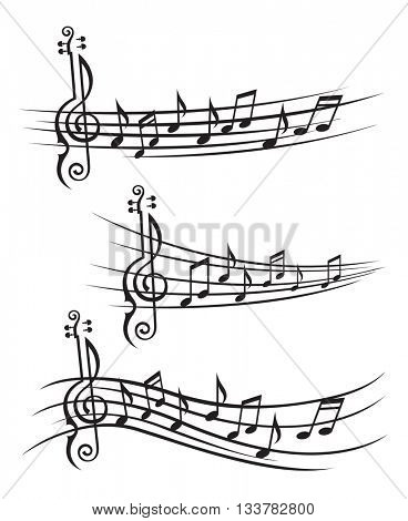 monochrome collection of music notes on stave