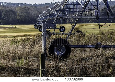 Close up of irrigation equipment in a field