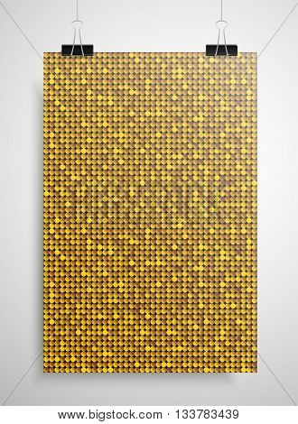 Abstract background. A poster on the wall at the terminals of the paper. Gold sequin background. EPS 10.