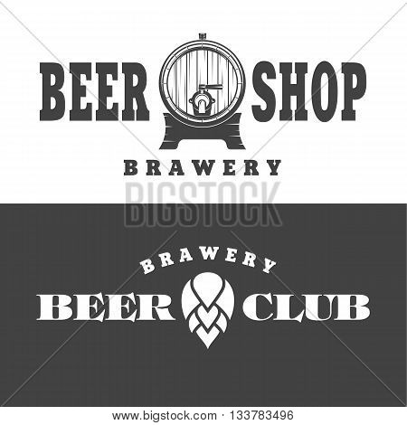 vector illustration of a set of posters on the theme of beer depicting beer barrel and flower hops on a black and white background in the style of art-line