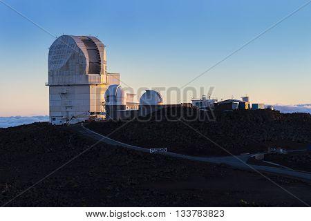 Haleakala Observatory Maui Hawaii USA at Sunset