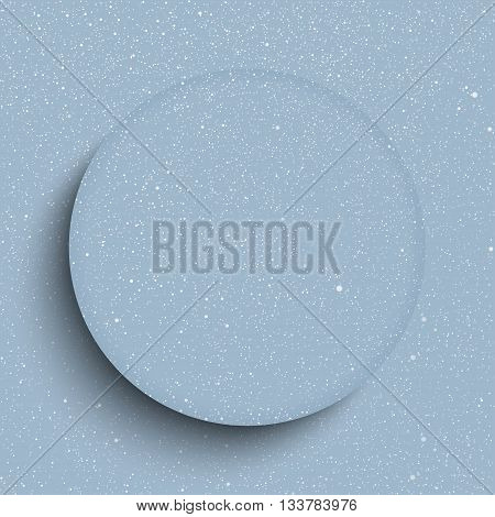 Vector round glass frame. Vector white snow falling on grey background.