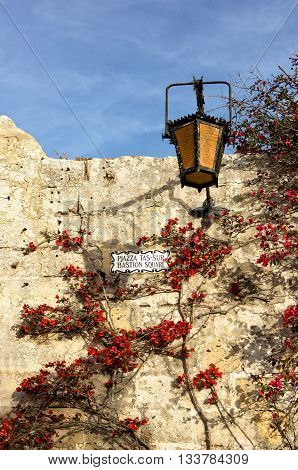 Ancient architecture of the Mdina - the ancient capital of Malta, typical maltese street, exterior details
