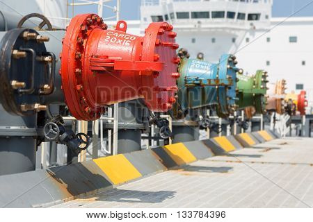 Cargo manifold pipeline of crude oil tanker.