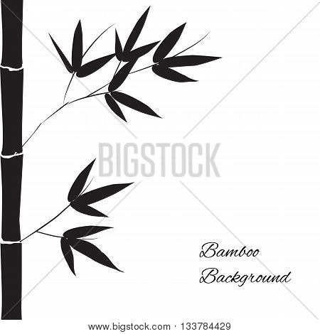 Black branch and stalk of bamboo on a white background floral pattern