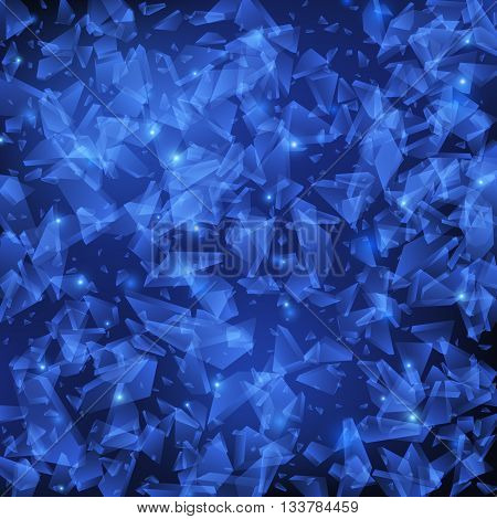Shards of glass, Crushed glass, Abstract blue vector explosion