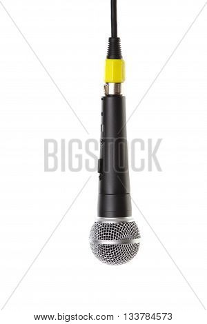 one black microphone isolated on white background