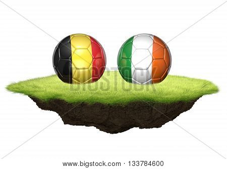 Belgium and Ireland team balls for football championship tournament, 3D rendering