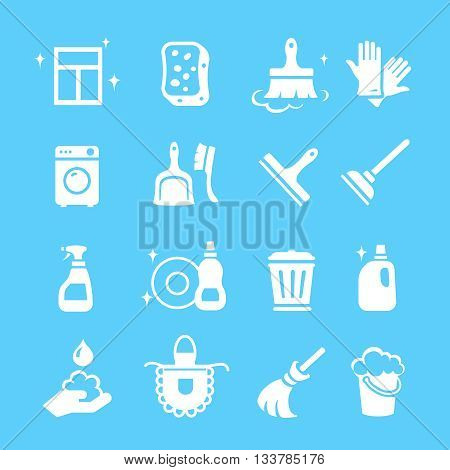 Cleaning white Icons set. Hygiene tools signs or symbols