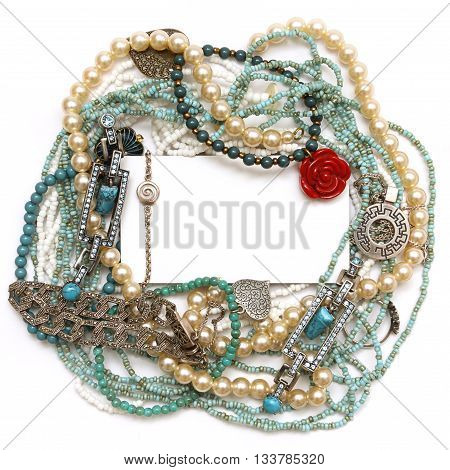 Frame of jewelry: silver turquoise pearls coral platinum and diamonds