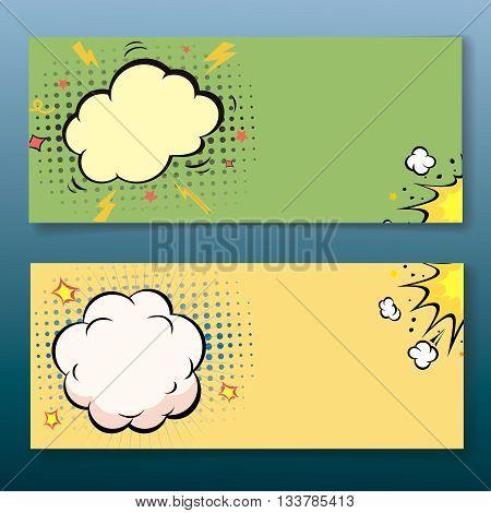Comic book style horizontal explosion cloud banner set. illustration