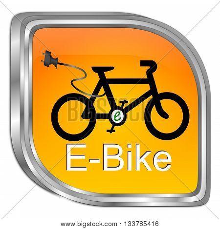 decorative orange E-Bike Button - 3D illustration