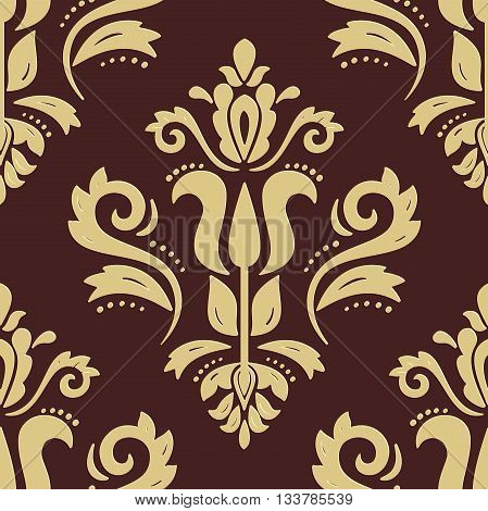 Seamless oriental ornament. Fine vector traditional oriental pattern with 3D elements, shadows and highlights. Brown and golden pattern