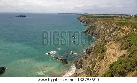View of the South Wales Coastline from the Pembrokeshire Coastal Path, near Solva, Wales, UK