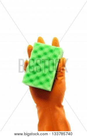 Hand in a rubber glove holding domestic sponge isolated on a white background.