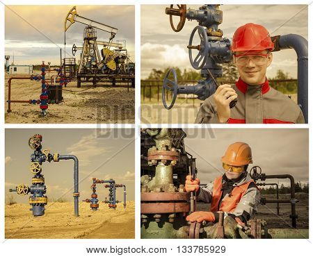 Collage consisting of pictures of pump jack well head man engineer talking on the radio woman engineer repairing weel head. Oil and gas concept. Toned.