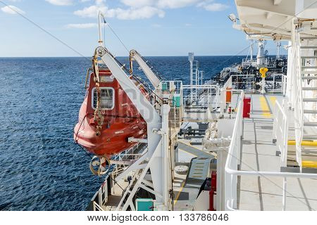 Lifeboat deck of oil tanker in the open sea.