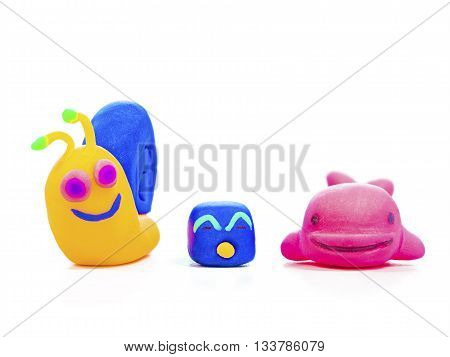 lovely colorful animal plasticine clay model toy isolated on white background