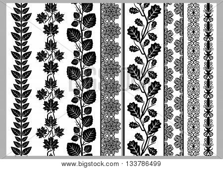 Indian Henna Border decoration elements patterns in black and white colors. Lace borders vertical vector seamless lace patterns natural pattern flower pattern vector illustration.