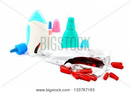 Medication isolated on the a white background.