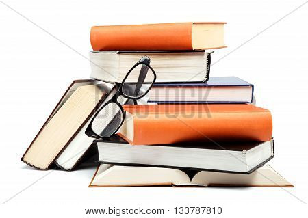 Stack of books isolated on white background.