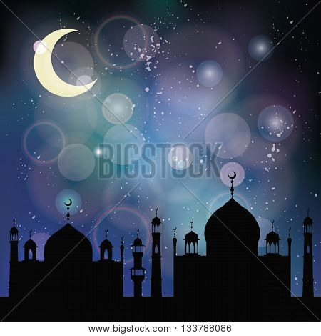 Islam, muslim blurred bokeh background.Vector Celebration card for Eid Ul Adha festival, Ramadan Kareem, arabic holiday template.Mosque, minaret, moon, night sky.Vintage mystic Illustration
