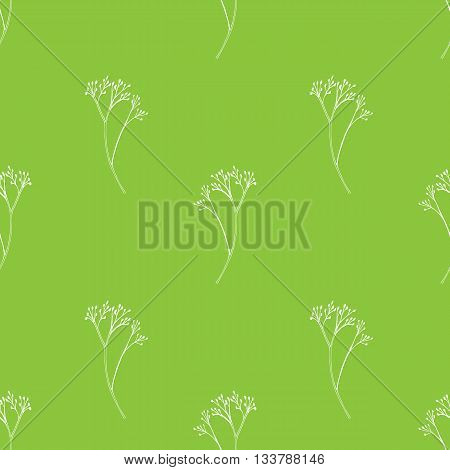 Vector seamless pattern with hand drawn herbal elements. Botanical background in light green colors.