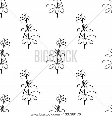 Vector seamless pattern with ink hand drawn herbs. Botanical background. Organic shop pattern. Vintage style. Fabric texture.