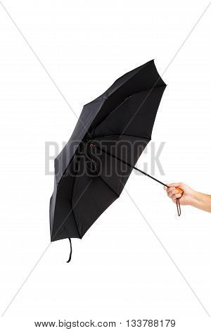 Modern black umbrella in hand isolated on white background.