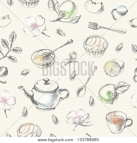 Hand drawn dessert seamless pattern with shiny spots. Pencil sketch of tea party set teapot apple tart tea cup lemon honey and apple flower fork spoon.