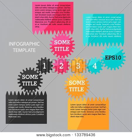 Four steps timeline template with gears. Infographic vector template. Place for customer text
