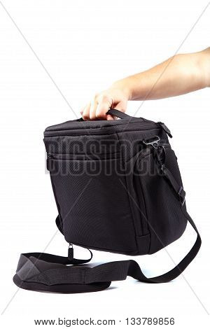 Modern Camera bag in isolated on white background.