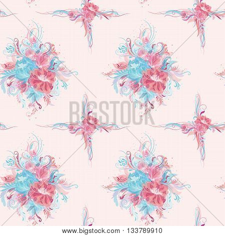 Seamless tile-able floral texture with rose and blue flower bouquets and swirls on white background