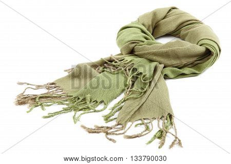 Green scarf with tassels isolated on white background.