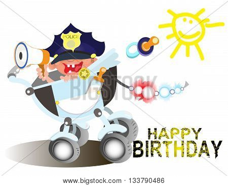 Birthday greetings for a police officer.vector illustration