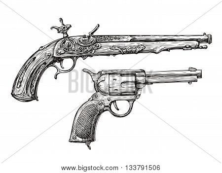 Vintage Gun. Retro Pistol, Musket. Hand drawn sketch of a Revolver, Weapon, Firearm