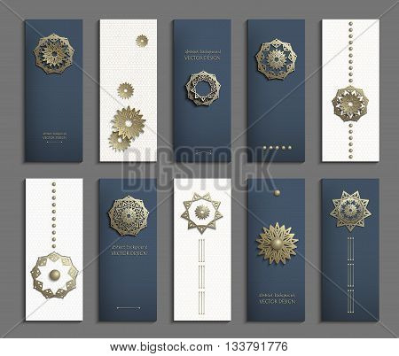 Set of business cards with gold 3d emblems. Elegant abstract composition, creative round shape icon, vertical flyer, banner in golden, navy blue and white tones. Vector EPS10